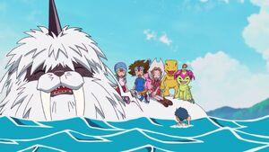 Ikkakumon, Sora, Taichi, Mimi, Biyomon, Agumon & Palmon laugh with Joe