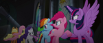 Mane Six and Spike forming a chain MLPTM