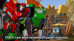 Russell, Grimlock and Sideswipe in the Scrapyard.