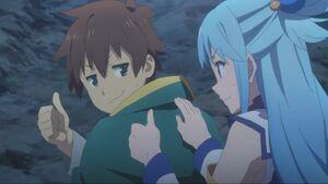 Kazuma and Aqua thumbs up
