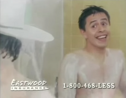 The Eastwood Insurance Cowboy from 1990s shower commercial helping a regular guy