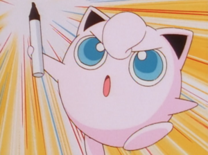 Jigglypuff preparing to scribble on her sleeping audience