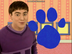 Joe with Blue's pawprint