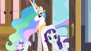 Princess Celestia Entering the Guest Room with Rarity and Opal