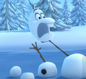 Olaf shrieking comically