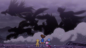 Taichi, Agumon, Sora and Biyomon look at the past