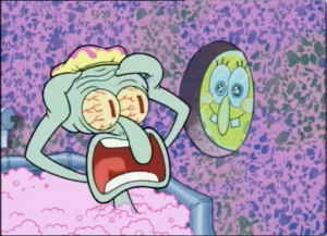 Squidward screaming comically
