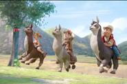 Tad Sara & Freddy escape on Llamas