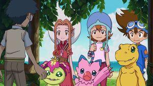 Joe, Mimi, Palmon, Sora, Biyomon, Taichi and Agumon