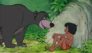 Baloo and Mowgli first meeting