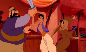 Jasmine being rescued by Aladdin