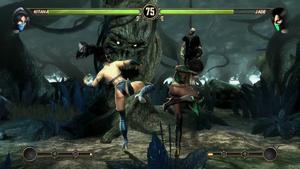 Kitana and Jade ready a kick