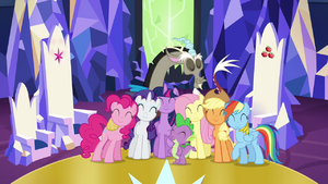 Main cast and Discord group hug S4E26