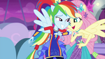 Rainbow nudges Fluttershy with elbow EGROF