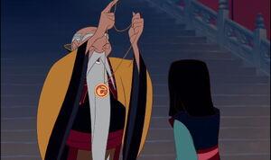 The Emperor Gives Medallion to Fa Mulan.