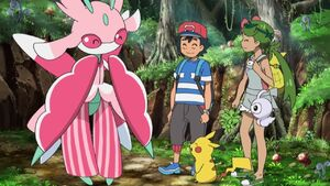 Ash, Mallow and Pikachu with Lurantis and Castform