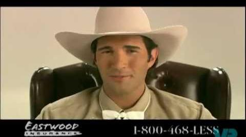 Eastwood Insurance Cowboy in a circus troupe commercial