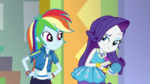 Rarity about to put makeup on Rainbow Dash EGDS2