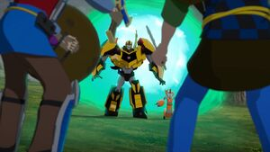 Bumblebee and Fixit Encounter Two Human