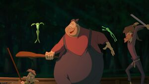 Tiana and Naveen outwitting the Frog Hunters