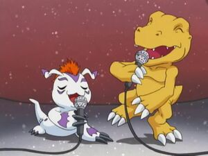 Agumon and Gomamon Singing.