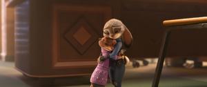 Zootopia Mrs. Otterton hugging Judy