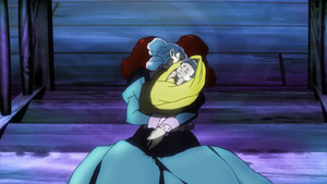 Baby Lisa Lisa in the arms of her dead mother
