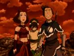 Sokka, Suki, and Toph