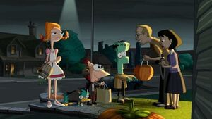 Candace Phineas Perry and Ferb in a halloween costume