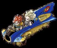 Chrono Trigger - Crono piloting the Jetbike with Ayla enjoying the ride