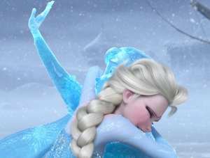 Elsa thawing Anna with her love