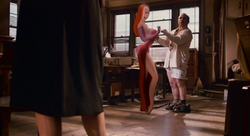 Jessica Rabbit trying to convince Eddie Valiant that Roger Rabbit is innocent