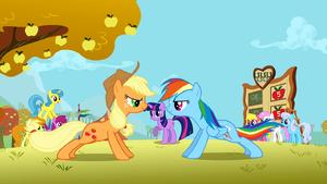 Applejack and Rainbow Dash doing push ups S1E13