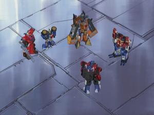 Optimus, Wing Saber, Landmine, Prowl and Inferno (Bulkhead)