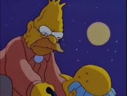 Abe Simpson facing Mr. Burns