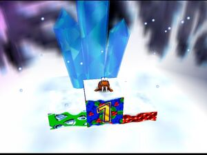 Banjo-Kazooie banjo in warlus mode in 1st place in freezeezy peak