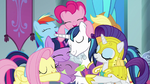 Mane Six and Shining Armor hugging Spike S9E4