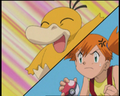 Misty frustrated with Psyduck's pathetic attacks