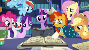 Mane Six, Starlight, and Sunburst look inside the big book S7E25
