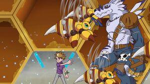 Yamato & WereGarurumon help to free group of Funbeemons