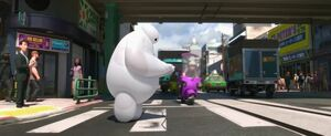 Baymax walking across the street