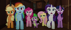 Mane Six gasping in shock at the parrots MLPTM