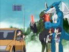 Daisuke, Ken, ExVeemon and Stingmon with other humans