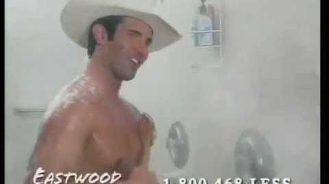 Famous Eastwood Insurance Cowboy in Shower Commercial