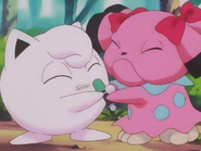Jigglypuff and Snubbull fighting over her mic