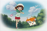 Laura run with Hamtaro
