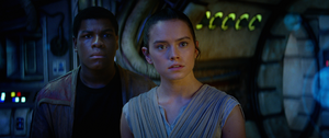 Rey and Finn listen to Han's story
