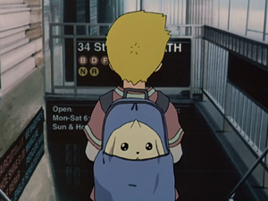 Terriermon in Willis's backpack