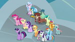 Mane Six and students in front of the school S8E2