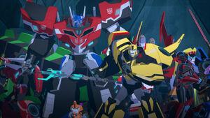 Optimus, Windblade, Toolbox and Bumblebee